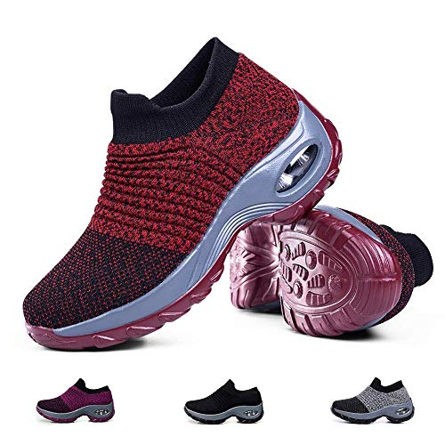 Women's Breathable Walking Tennis Shoes - Casual Slip on Sock Sneakers Nursing Work Shoes Platform Red,10