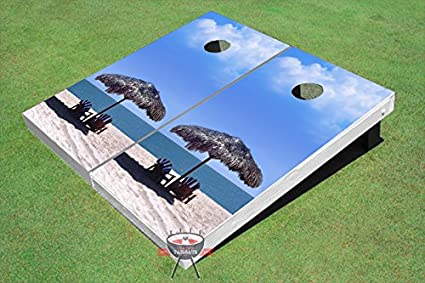 Custom Corn Hole Palapa on beach Graphic Cornhole Boards