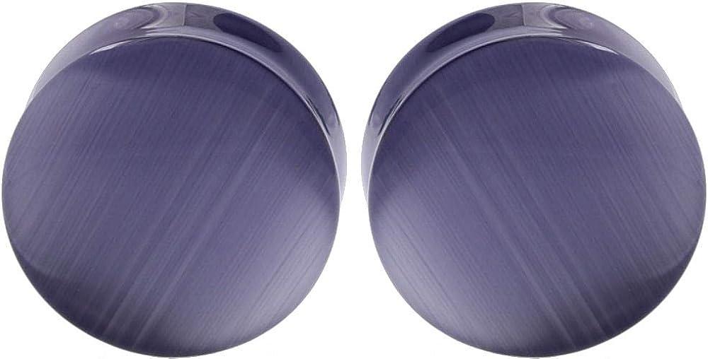 soscene Ear gauges Ear Plugs Solid Lavender Cats Eye Double Saddle