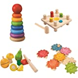 Amazon Basics Wooden Motor Skills Play Set – Hammer Peg, Stacking Ring, Fruits & Vegetables, Puzzle Gears – For 2+ Years