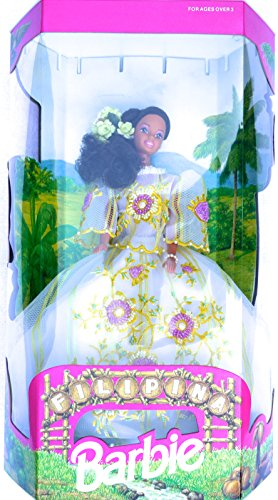 Filipina Barbie in White Netting Dress with Yellow Stripes and Pink and White Beaded Flowers (1993) - - Barbie Dolls Filipino