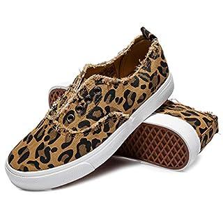 Women's Slip on Sneakers Walking Shoes Casual Girls Canvas Fashion Sneakers(Leopard.US10)