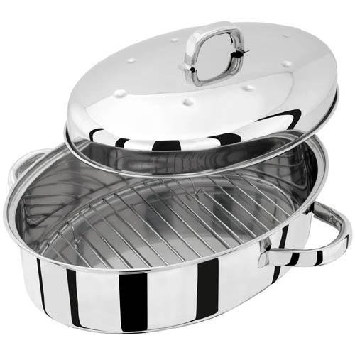 Judge TC120 32 x 22 cm High Oval Roaster with Self Basting Lid, Silver by Judge