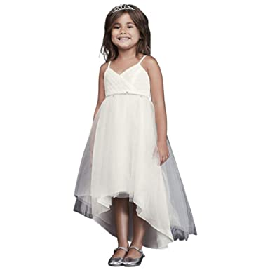 448e808d042 High-Low Tulle Flower Girl Communion Dress with Crystal Belt Style OP252