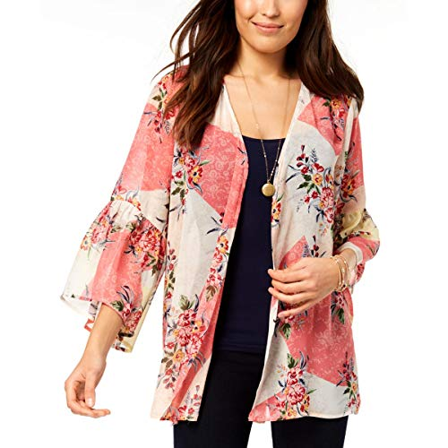 (Style & Co. Womens Printed Bell Sleeves Kimono Pink L)