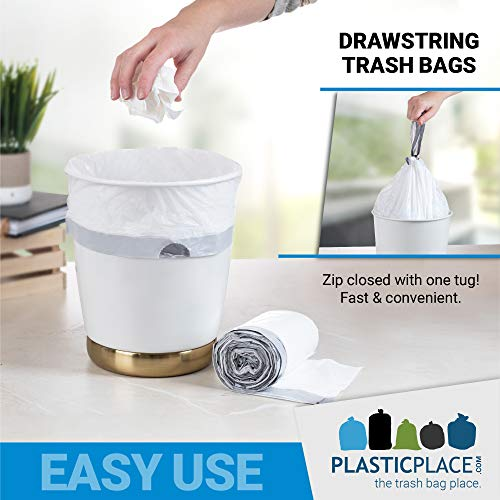 """Plasticplace 6 Gallon Trash Bags │ 0.7 Mil │ White Drawstring Garbage Can Liners │ 17"""" x 20"""" (100 Count)"""