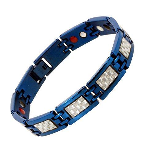 Mandala Crafts Blue Titanium Bracelet Magnetic Wristband for Men, Carbon Fiber Inlay, Ion Germanium Magnet 4 Elements (Silver Tone) ()