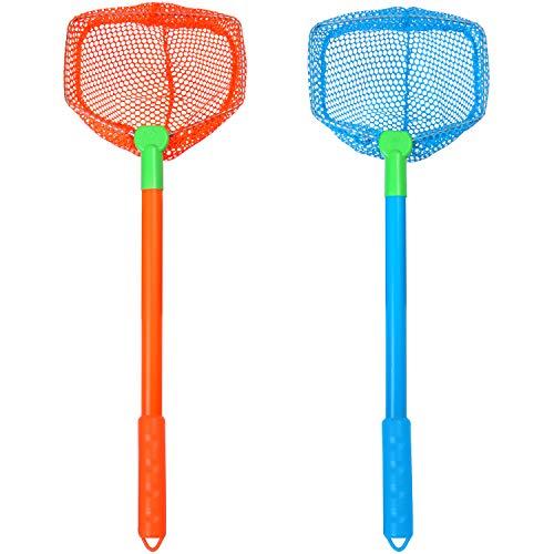 Elcoho 2 Pieces Kids Fishing Nets Bug Net Kids Beach Toys Nets Catch Butterflies Nets for Kids Outdoor (Orange, Blue)