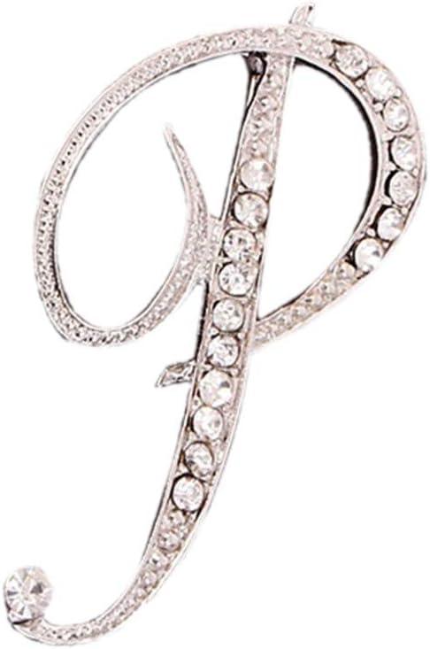 Usstore - Broche de cristal con diseño de letra inglesa con diamantes para parejas, joyería conmemorativa, regalo de cumpleaños, decoración de ropa