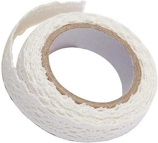Cinta de Encaje, Cinta de Tela de Encaje de Tela de algodón con Cinta Adhesiva de Doble Cara Adhesiva Decorativa Cinta de Tela de algodón para DIY Scrapbooking 1PC Blanco: Amazon.es: Hogar