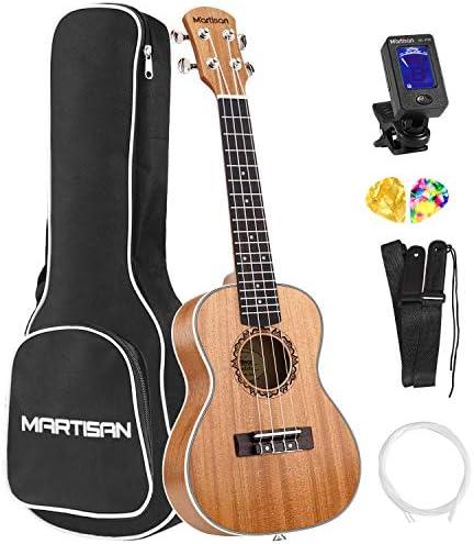 MARTISAN Concert Ukulele 23 inch Ukulele Satin Mahogany Hawaiian Guitar Aquila StringsStarter Kit (Tuner Nylon Strings Gig Bag Strap and Picks)