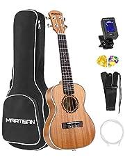 MARTISAN Concert Ukulele 23 inch Ukulele Satin Mahogany Hawaiian Guitar Aquila Strings with Starter Kit (Tuner, Nylon Strings, Gig Bag, Strap and Picks)