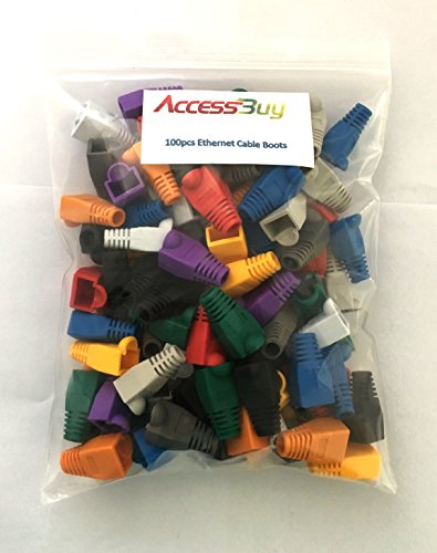 Accessbuy Soft Plastic CAT5E CAT6 Ethernet RJ45 Cable Connector Boots Plug Cover Strain Relief Boots Multicolor 100 Pcs 9 The RJ45 boots cover protects RJ45 connectors from dust and Oxidation extending the RJ plug's life time. Size: 2.7*1.5*1.6cm Multiple color for your options-white, gray, red, black, purple, blue, green, yellow, orange, dark gray.