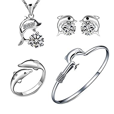 Sterling Silver Cubic Zirconia Dolphin Earrings Ring Bracelet and Pendant Necklace Jewelry Set mother
