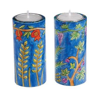 World Of Judaica Yair Emanuel Round Shabbat Candlesticks with Seven Species