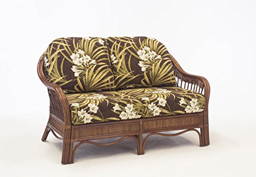 South Sea Rattan Bermuda Loveseat in Pecan Finish, Sachi Pool