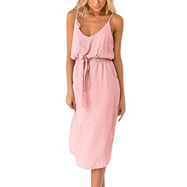 897816031ec4a Amazon.com: Casual Loose Dress for Women's Ladies Solid Color Strap ...