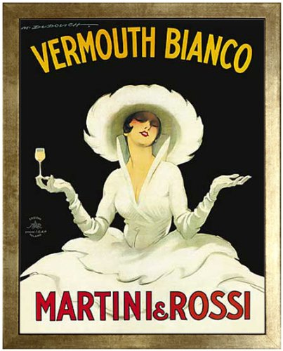 Martini & Rossi - Vermouth Bianco by Marcello Dudovich (1918). Framed Vintage Advertising Reproduction Poster. Custom Made Real Wood Modern Scratched Gold Frame (17 1/8 x 21 1/8)