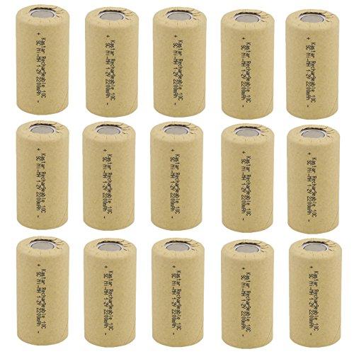 Kastar 15 Packs Sub C 2200mAh NiCd Flat Top Rechargeable Battery (No Tabs) (Sub C Nicd Rechargeable Battery)