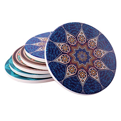 Absorbent Ceramic Coasters for Drinks - 6 Pack Mandala Patterns with Cork Back,Drink spills coasters, Coffee Mug Place Mats -