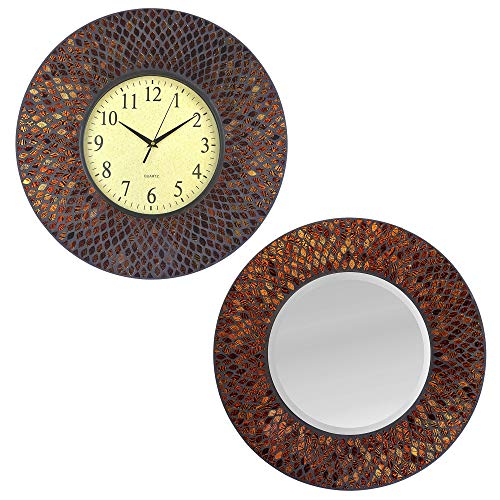Lulu Decor, 19 Amber Comb Mosaic Wall Clock Mirror with Black Cement, Perfect for Home and Office Space Combo Deal