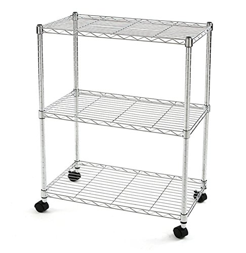 Excel ES-241428CW NSF Multi-Purpose 3-Tier Wire Shelving Unit with Casters, 24 In. x 14 In. x 28 In., Chrome