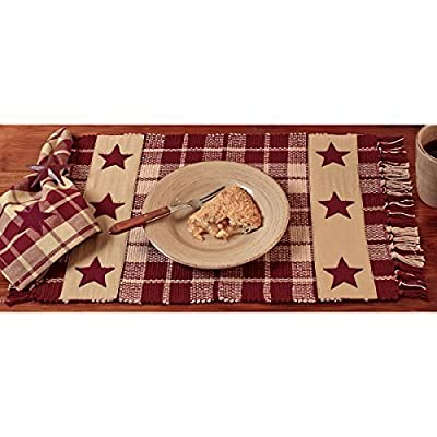 "Burgundy Farmhouse Star Placemat - Set of 4 - Brand: The Country House Collection Material: Cotton 13"" x 19"", Set of 4 - placemats, kitchen-dining-room-table-linens, kitchen-dining-room - 51wMqLIjlvL. SS400  -"