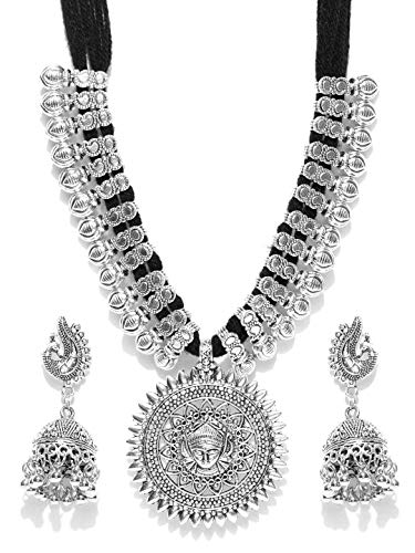 YouBella Jewellery Bollywood Ethnic Silver Plated Traditional Indian Necklace Set with Earrings for Women (Black)