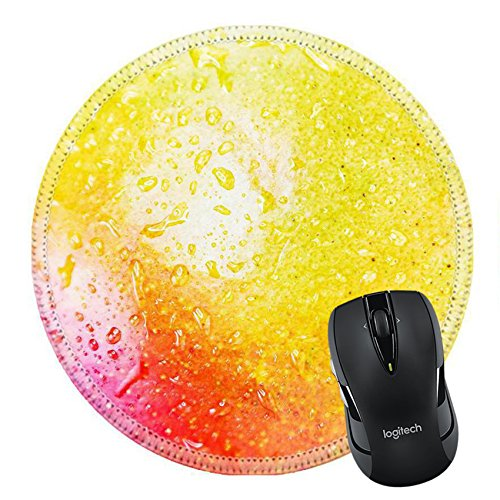 MSD Natural Rubber Mousepad Round Mouse Pad/Mat: 39147463 ripe mango close up focus in the center of the on the droplets