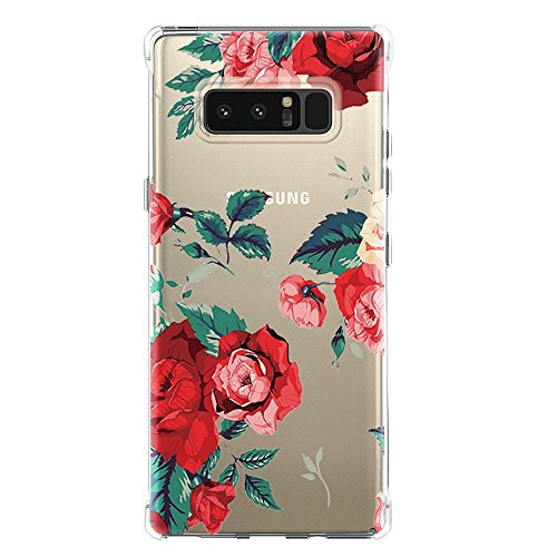 Galaxy Note 8 Case,Samsung Galaxy Note 8 Case with Flower,LUOLNH Slim Shockproof Clear Floral Pattern Soft Flexible TPU Back Cover for Samsung Galaxy Note 8 (Red)