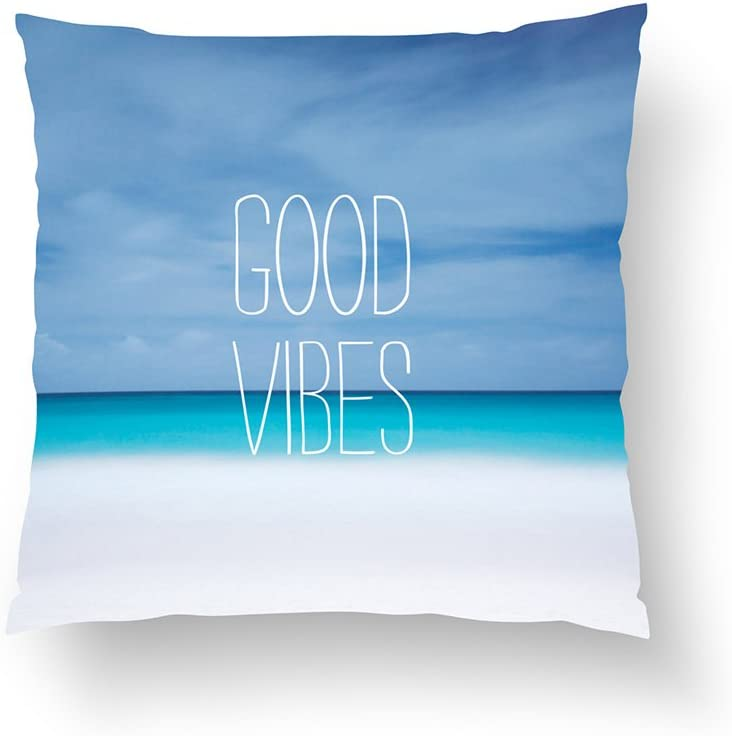 Zippered Pillow Covers Pillowcases One Side 16x16 Inch Funny good vibes beach ocean photo hipster Pillow Cases Cushion Cover for Home Sofa Bedding