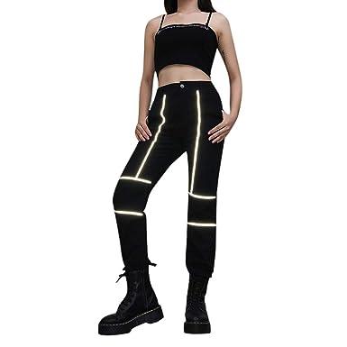 Honestyivan - Pantalones de chándal para Mujer, Reflectantes ...