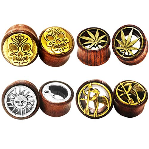 SUPTOP 8PC Organic Wood Ear Stretchers Double Flared Plugs and Tunnels for Ear Expander Wooden Gauges Size 0g-13/16 Inch (Stone Plugs 13 16)