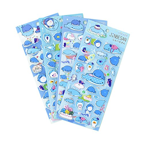 Underwater Whale Sea World Stickers 4 Sheets with Octopus and Jellyfishs PVC Foam Fish Stickers for Kids - 120 Stickers (Whale Stickers)