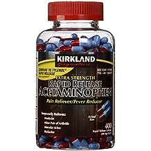 Kirkland Signature Extra Strength Rapid Release Pain Reliever Acetaminophen 500 MG 400 rapid release gelcaps Bottle