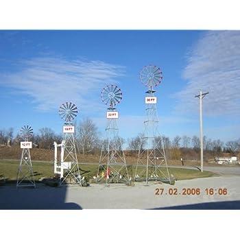 30 Ft Made In The USA Premium Aluminum Decorative Garden Windmill Red Trim
