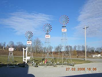 12 Ft Premium Aluminum Decorative Garden Windmill  Red Trim