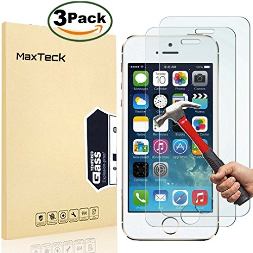 Cheap Screen Protectors [3 Pack] iPhone 5 5s SE Screen Protector, MaxTeck 0.26mm 9H Tempered..