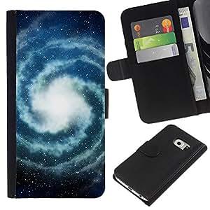 Planetar® Modelo colorido cuero carpeta tirón caso cubierta piel Holster Funda protección Para Samsung Galaxy S6 / SM-G920 EDGE ( Milky Way Universe Space Stars )