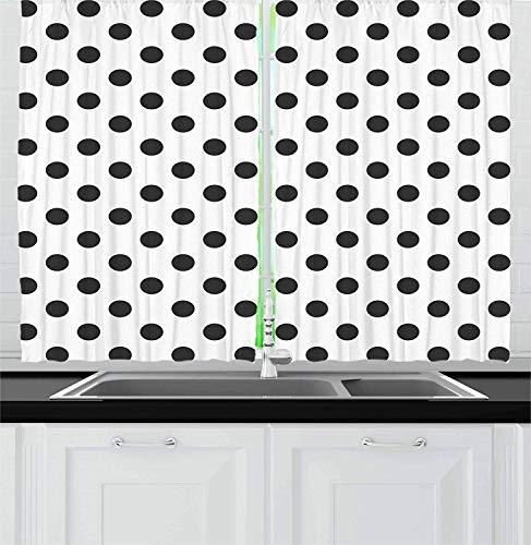 Retro Kitchen Curtains Window Drapes, Nostalgic Polka Dots Pattern with Large Round Circles Minimalist Modern Art Print, 2 Panels Set for Kitchen Cafe Window Drapies Treatment, 104'' W x 96'' L (Circle Dot Valance)