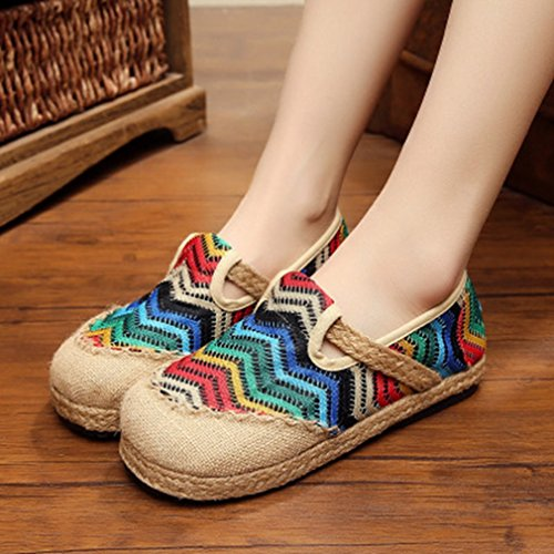 Womens Retro Loafers Flat Moccasin Exotic Slip-on Round Toe Linen Strape Colorful Casual Shoes Blue rlotyYv
