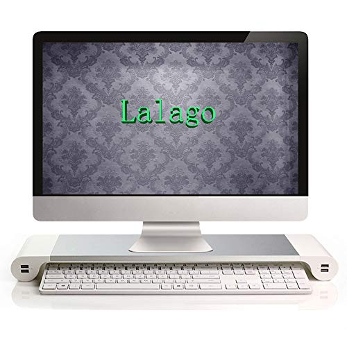Lalago Monitor Stand Computer TV Riser - Reduce Neck Pain, Keyboard Storage Office Desk Drawer Organizer with 4 Ports 3.1A Quick Charge USB Power Charging Station by Lalago (Image #1)