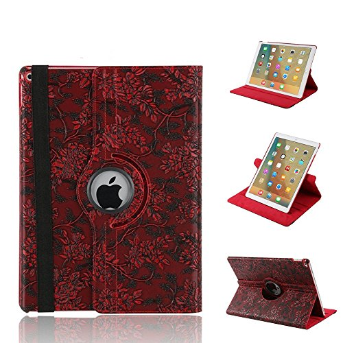 Price comparison product image FuriGer iPad Mini 3 Case, iPad Mini 2 Case, iPad Mini Case,  360 Degree Rotating Case with Smart Stand Cover Auto Sleep / Wake Function for iPad Mini1 / Mini2 / Mini3 -Red