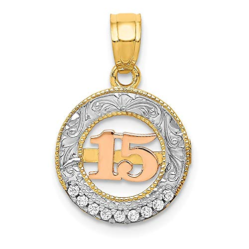 14k Two Tone Yellow Gold White Cubic Zirconia Cz 15 Pendant Charm Necklace Special Day Fine Jewelry Gifts For Women For Her ()