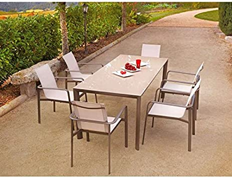 Ozalide 4463 Vira Ensemble Table + 6 Fauteuils Aluminium ...