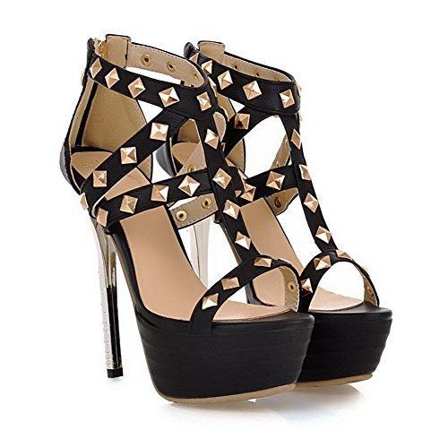 AmoonyFashion Womens Solid PU High-Heels Open-Toe Zipper Sandals Black ApTUJ