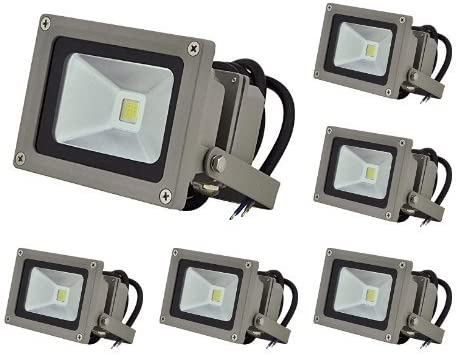 LEDwholesalers 10.5-Watt LED Waterpoof Outdoor Security Floodlight 12 Volt DC, White 6-Pack , 3711WH-12Vx6