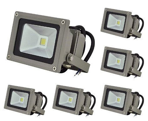 LEDwholesalers 10.5-Watt LED Waterpoof Outdoor Security Floodlight 12 Volt DC, White (6-Pack), 3711WH-12Vx6