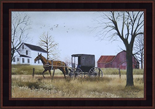 Amish Horse Buggy - Goin' To Market by Billy Jacobs 15x21 Amish Horse Buggy Farm Barn Country Primitive Folk Art Framed Print Picture