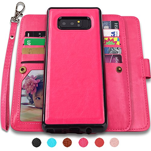 Galaxy Note 8 Case, Note 8 wallet Case with Detachable Slim Case,9 Card Slots, Kickstand, Removable Strap, CASEOWL Luxury PU Leather Magnetic Detachable Wallet Case for Galaxy Note 8(2017)-Hot Pink